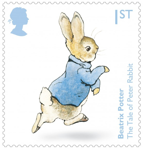 Royal Mail undated handout photo showing Peter Rabbit from the new set of stamps to celebrate the 150th anniversary of the birth of Beatrix Potter. PRESS ASSOCIATION Photo. Issue date: Thursday July 28, 2016. Six of the most popular characters from Beatrix Potterís 23 Original Tales feature in the Special Stamps with a further four stamps feature images taken from Beatrix Potterís first book, The Tale of Peter Rabbit. The stamps are available from today. Photo credit should read: Royal Mail/PA Wire NOTE TO EDITORS: This handout photo may only be used in for editorial reporting purposes for the contemporaneous illustration of events, things or the people in the image or facts mentioned in the caption. Reuse of the picture may require further permission from the copyright holder.