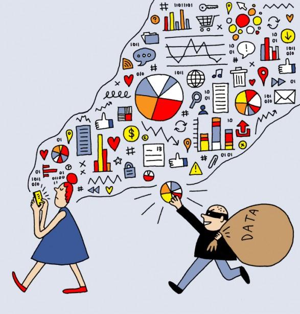 """Ilustração de Jordan Awan que acompanha o texto """"O Facebook devia-nos pagar a todos"""", de Tim Wu, publicado na New Yorker"""