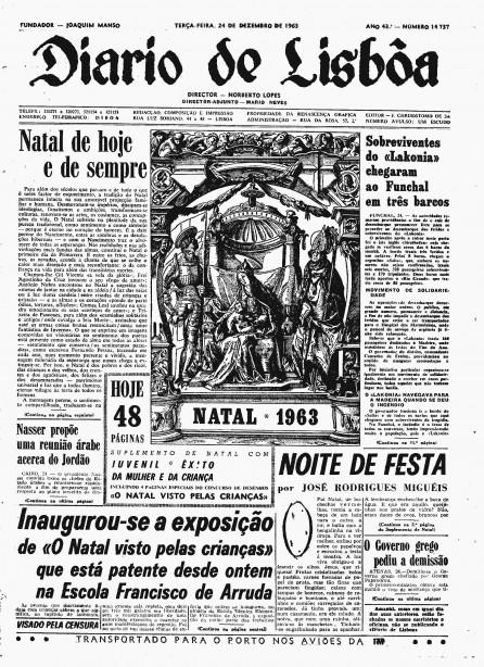 Primeira página do Diário de Lisboa de há 50 anos