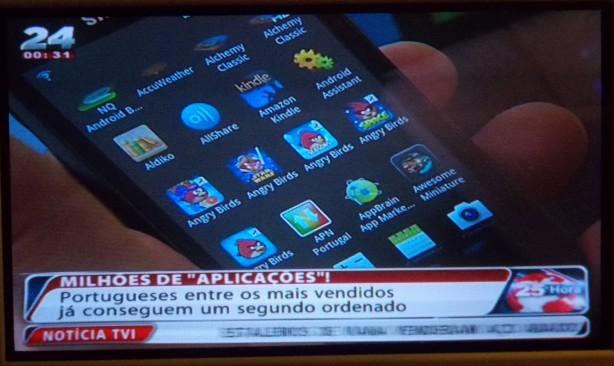 Imagem de uma reportagem sobre aplicações apresentada pela TVI 24 no dia 15