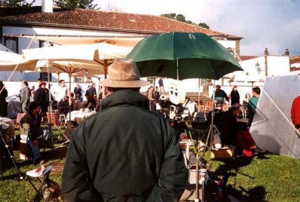 Manoel de Oliveira durante a rodagem de Party, 1996